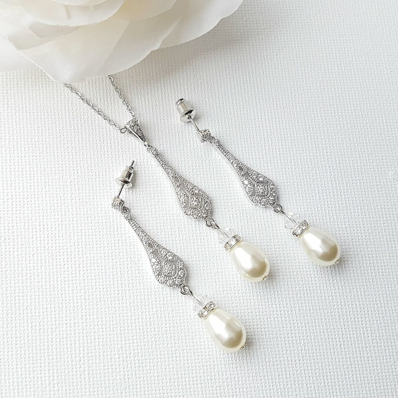 Vintage Drop Pearl Necklace Earring Set