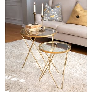 set of two gold side tables