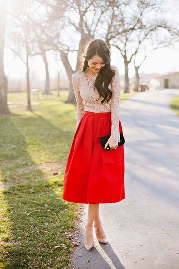 Red Skirt to a Winter Wedding