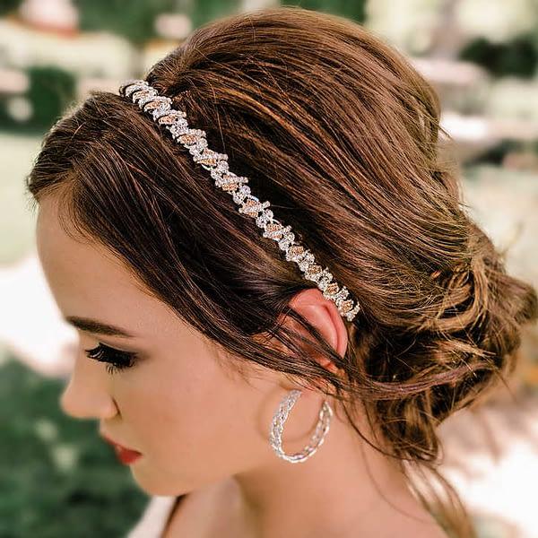 Peach Rhinestone Hair Jewelry