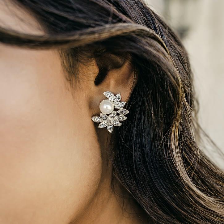 Pearl with Rhinestone Earrings