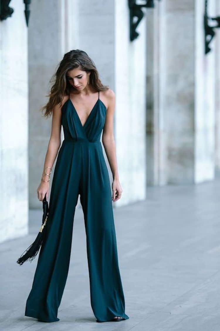 teal jumpsuit for wedding guest outfit