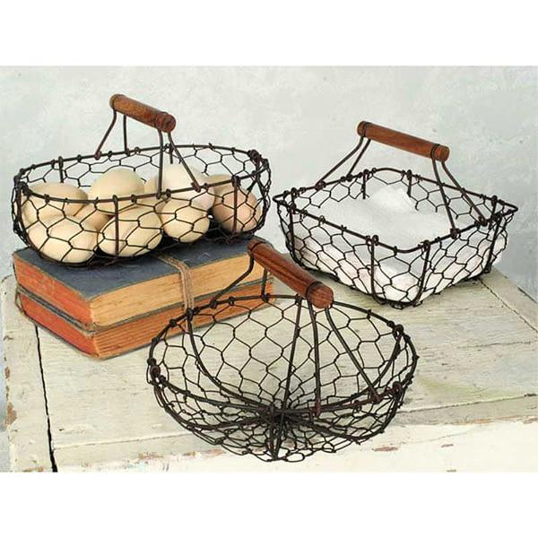Set of 3 Chicken Wire Baskets