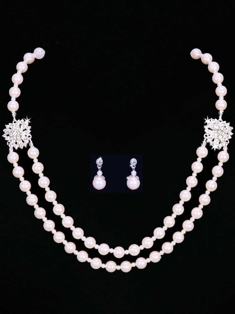 front view backdrop pearl necklace