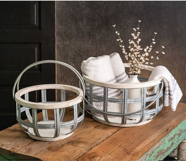 Set of 2 Wood and Metal Baskets