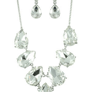 Clear/Silver Teardrop Bubble Set