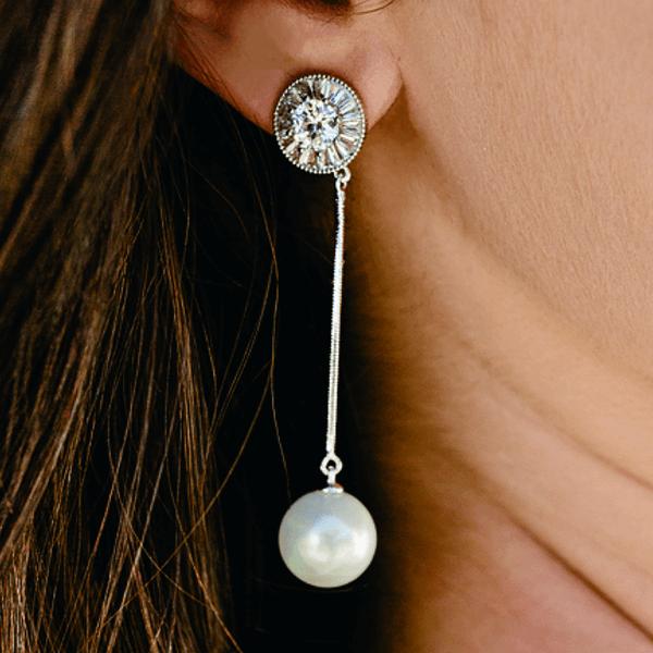 pearl drop bridal earrings