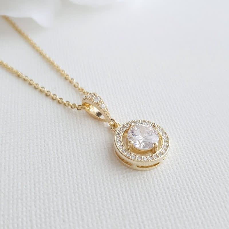 Round Crystal Bridal Pendant Necklace