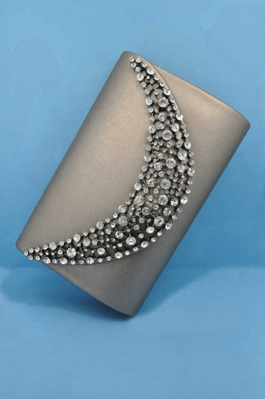 Gray Purse with rhinestones