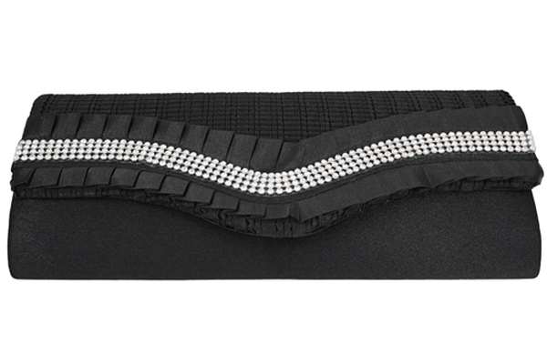 Black Ruffle Crystal Clutch Purse