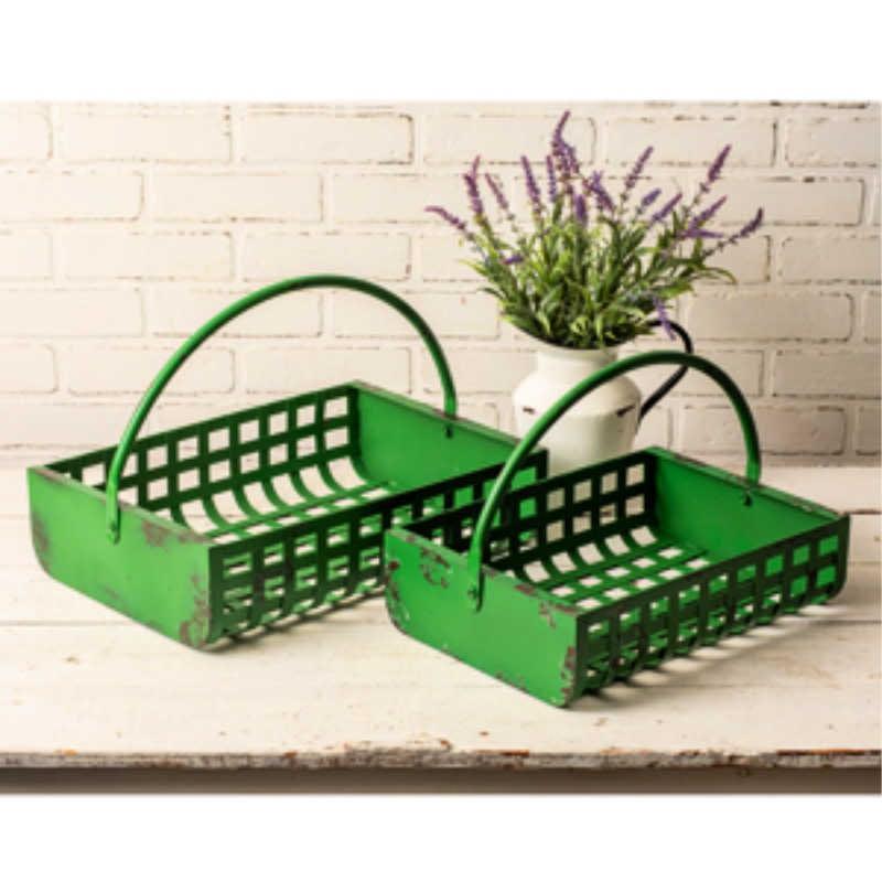 green metal baskets