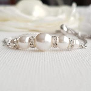 Silver Pearl Bracelet with Spacers