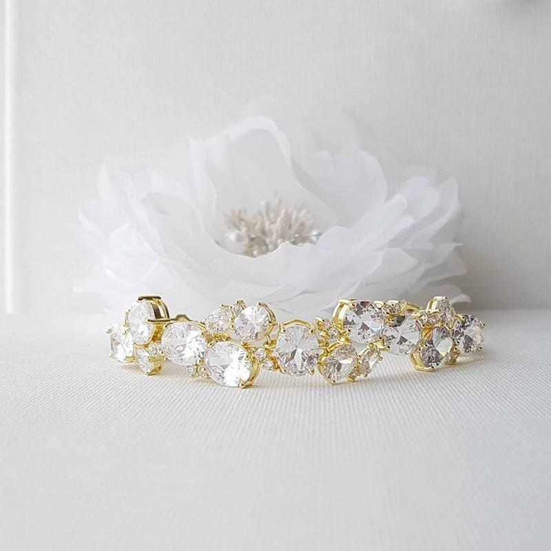 gold oval crystal bracelet
